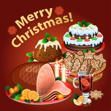 christmas cake: Christmas dinner, traditional christmas food and desserts, Christmas ham, Christmas pie, pudding, mulled wine.