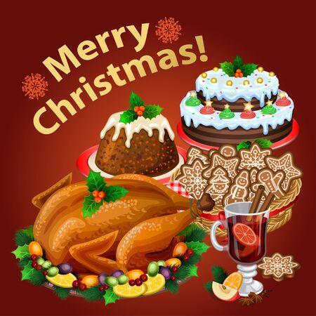 roast dinner: Christmas dinner, traditional christmas food and desserts, roast Turkey, ham, Christmas pie, pudding, mulled wine.