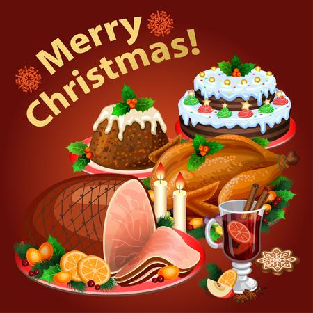 jamon: cena de navidad, comida de la navidad tradicional y postres, asado de pavo, jam�n, pastel de navidad, pud�n, vino caliente. ilustraci�n vectorial