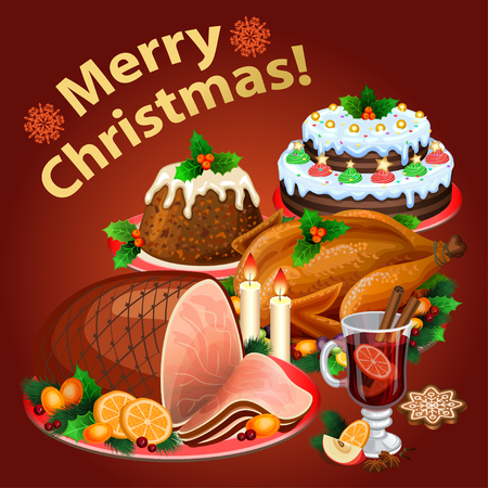 Christmas dinner, traditional christmas food and desserts, roast Turkey, ham, Christmas pie, pudding, mulled wine. Vector illustration Illustration