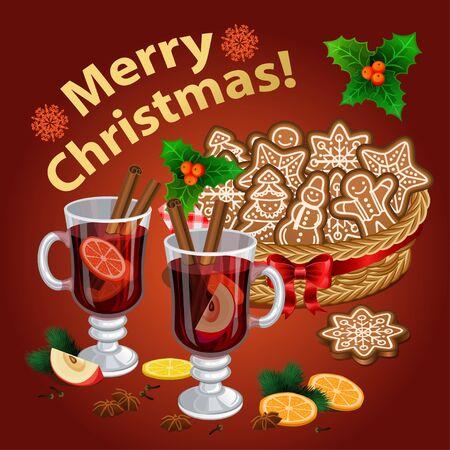 Weihnachten Glühwein mit Gewürzen und Zimt-Sticks, Weihnachtsplätzchen. Vektor-Illustration