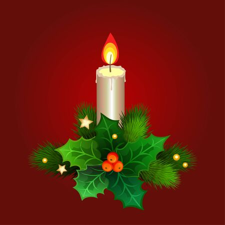 christmas candle: Christmas candle with fir branches and holly berries. Vector illustration Illustration