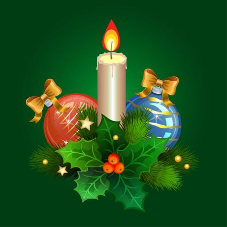 christmas candle: Christmas candle with fir branches, Christmas balls and holly berries. Vector illustration Illustration