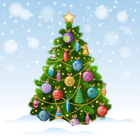 star ornament: Christmas tree with colorful ornaments, vector illustration