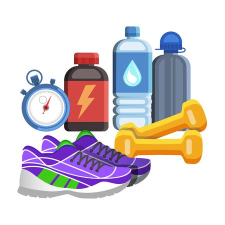 athlete cartoon: Sport flat icons, jogging and fitness kit elements. Sport concept, vector illustration Illustration