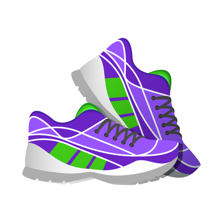Violet sport sneakers, modern illustrations in flat style. Vector illustration