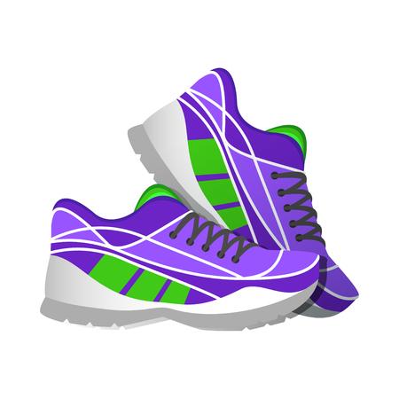 atleta corriendo: zapatillas de deporte de color violeta ilustraciones modernas y estilo plano. ilustraci�n vectorial Vectores