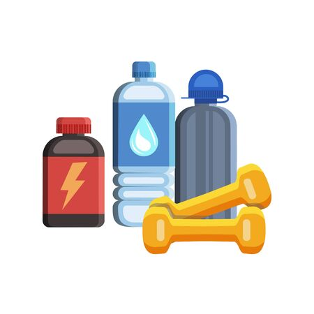 deportes caricatura: Iconos del deporte planas, gimnasio y elementos del kit de fitness. Concepto de deporte, ilustraci�n vectorial Vectores