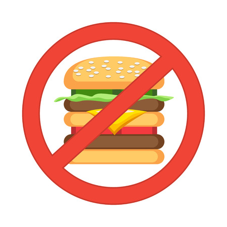 prohibiting: Hamburger danger label. Fast food, unhealthy eating, junk food concept. Vector illustration