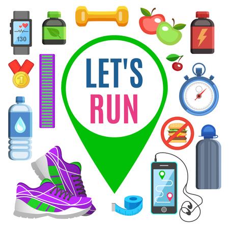 metrics: Sport flat icons, jogging and running kit elements. Sport concept, vector illustration Illustration