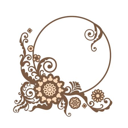 vintage floral frame: Vintage vector circle frame with floral elements, card design for greeting card, invitation, menu Illustration