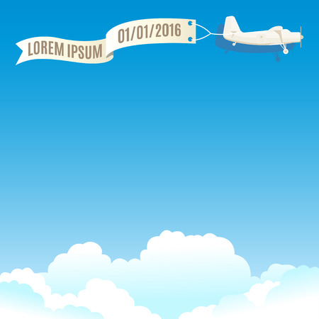 vintage plane: Flying vintage plane with banner and white clouds. Vector illustration, template for text or infographics