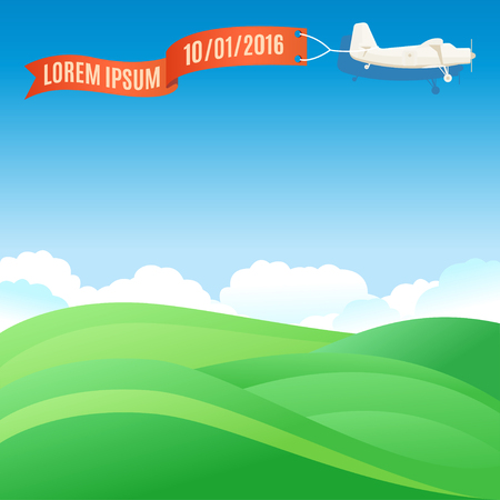 hill: Flying vintage plane with banner and green grassy hills. Vector illustration, template for text or infographics Illustration