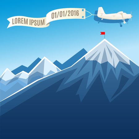 vintage plane: Flying vintage plane with banner and mountain peak with flag. Vector illustration, template for text or infographics