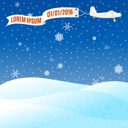 vintage plane: Flying vintage plane with banner and snowy hills, winter scene. Vector illustration, template for text Illustration