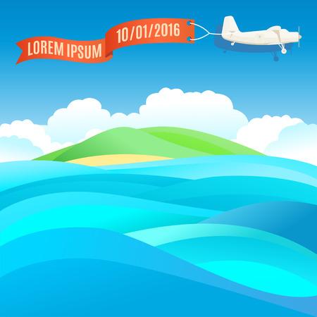 배너와 바다, 바다 풍경과 빈티지 비행기를 비행. 벡터 일러스트 레이 션, 텍스트 서식
