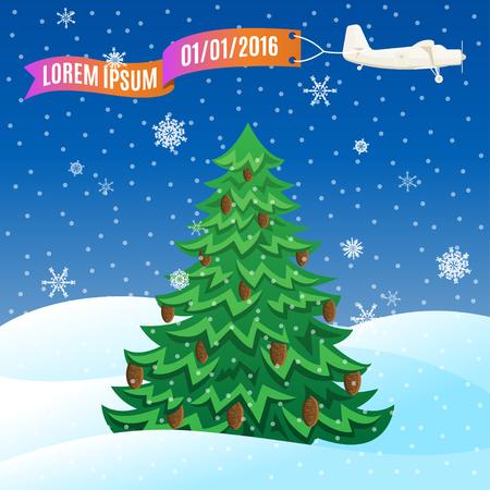 avion caricatura: Plano del vuelo de la vendimia con la bandera y el �rbol de hoja perenne, escena del invierno. Ilustraci�n del vector, plantilla para el texto
