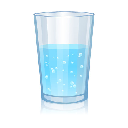 water reflection: Glass with water isolated vector illustration on white background