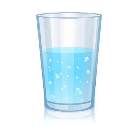 vasos de agua: Vidrio con la ilustración vectorial aislado del agua en el fondo blanco Vectores