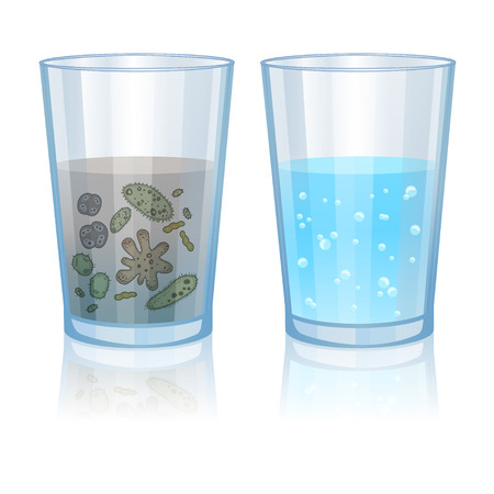 Glass with clean and dirty water, infection illustration. Vector illustration