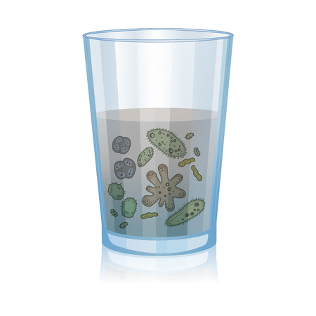 Glass with dirty water, bacteria, science microbiology, infection illustration. Vector illustration Ilustração