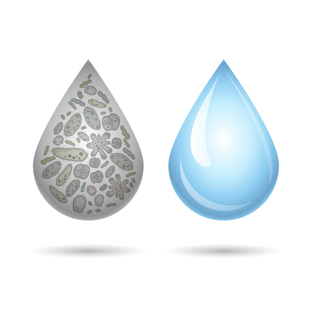 polluted: Clean and dirty water drops, infection illustration. Vector