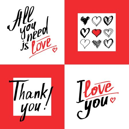 quoted: Set of romantic and love cards template.