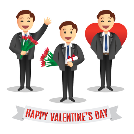 enamored: Set of enamored cartoon mens in a black suit with gift for Valentines Day, illustration. Concept of Love or romantic relationship Illustration