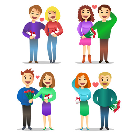 relationship love: Romantic couples, love, relationship, enamored people with gifts on Valentine day. Couples in love, cartoon people, woman and man,  illustration