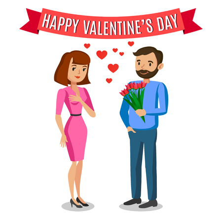 cartoon present: Man gives woman bouquet of flowers for Valentines day. Romantic couple, love, relationship and dating concept Illustration