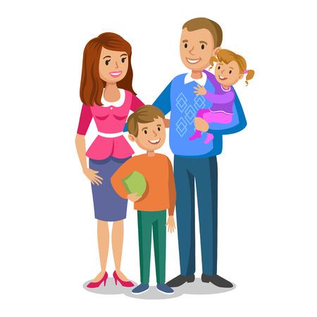 Retrato de familia feliz, sonriendo a los padres y niños. Concepto familia feliz, el amor familiar. Ilustración del vector aislado en blanco