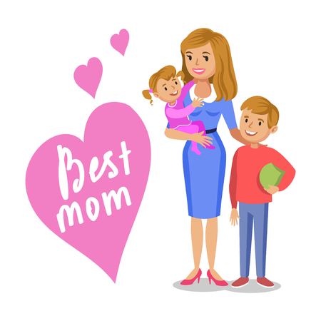 boy lady: Mother and her children, smiling mom and kids, daughter and son. Concept happy family, family love, mothers day. Vector illustration