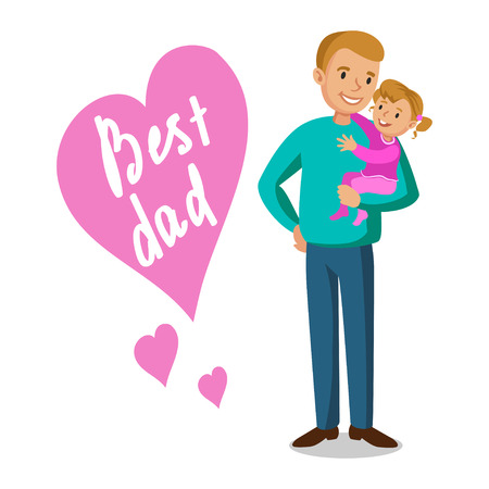 cuddle: Father and daughter. Father holding his baby, Fathers Day. Vector illustration Illustration