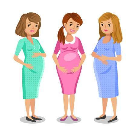 happy pregnant: Three happy pregnant women. Maternity and friends concept. Vector illustration