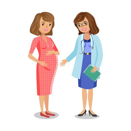 Donna incinta in visita medico in clinica, madre in attesa, donna incinta con il medico. Medico che esamina una donna incinta, illustrazione vettoriale
