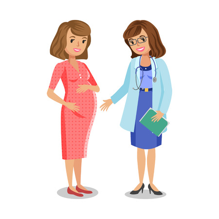 physician: Pregnant woman visiting doctor in clinic, expectant mother, pregnant woman with physician. Doctor examining a pregnant woman, vector illustration