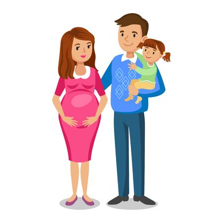 papa y mama: familia típica en el amor, niña y los padres, la mujer embarazada con el bebé. Parejas, mujer embarazada con el marido, ilustración vectorial
