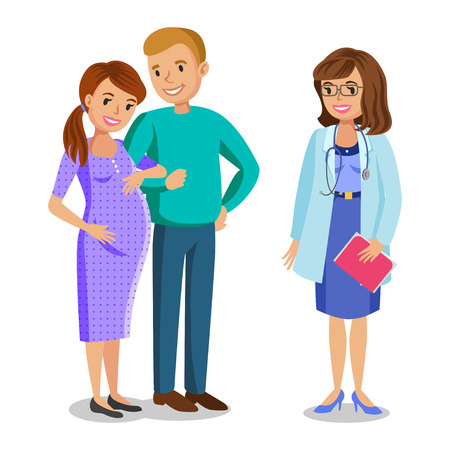 a lady doctor: Family visiting doctor in clinic, expectant parents, pregnant woman with her husband. People couples, vector illustration