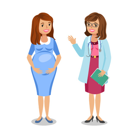 expectant: Pregnant woman visiting doctor in clinic, expectant mother, pregnant woman with physician. Doctor examining a pregnant woman, vector illustration
