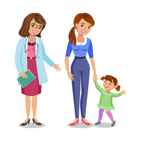 physician: Woman with little girl visiting doctor in clinic, mother and daughter with physician. Vector illustration