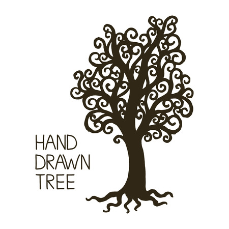 crooked: Stylized hand draw vintage old tree with crooked branches on white background. Abstract vector illustration