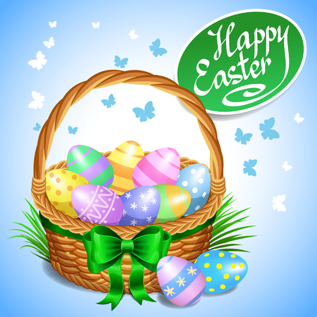 cartoon easter basket: Easter basket with color painted easter eggs. Easter eggs in basket, basket full of eggs, vector illustration