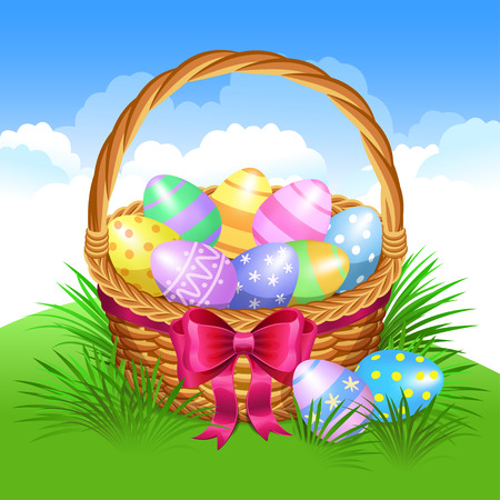 cartoon easter: Easter basket with color painted easter eggs. Easter eggs in basket, basket full of eggs, vector illustration