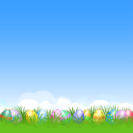 decorative card symbols: Easter background and colorful Easter eggs in green grass for Easter holidays design. Easter vector poster Illustration