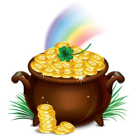 pot of money: Pot Of Gold, Magical Treasure, St. Patricks Day symbol. Vector illustration Illustration