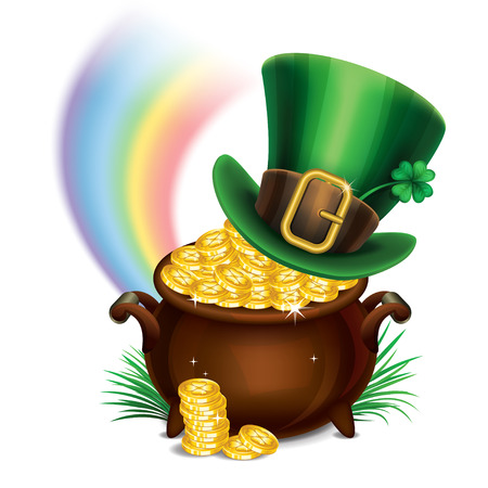 St.Patricks Day symbols-Pot Of Gold and leprechaun hat. St.Patricks Day background, Magical Treasure. Vector illustration Ilustracja