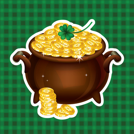 gold treasure: Pot Of Gold, Magical Treasure, St. Patricks Day symbol. Vector illustration Illustration
