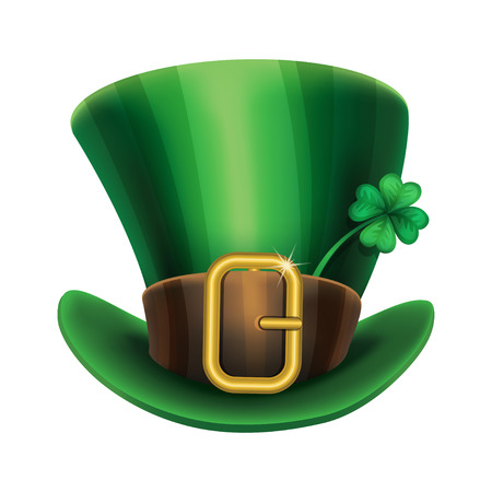 top hat cartoon: St. Patricks Day green leprechaun hat with clover, St.Patricks Day symbol. St.Patricks Day background. Vector illustration