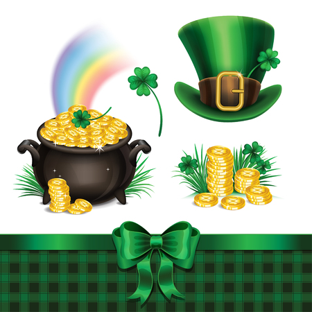 pot of gold: Set of St. Patricks Day symbols, set of St. Patricks Day icons. Vector illustration
