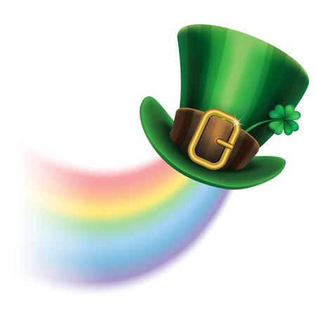 arcoiris caricatura: sombrero de duende día de St Patrick verde con el trébol y el arco iris, símbolo del Día de San Patricio. Fondo del día de St Patrick. ilustración vectorial
